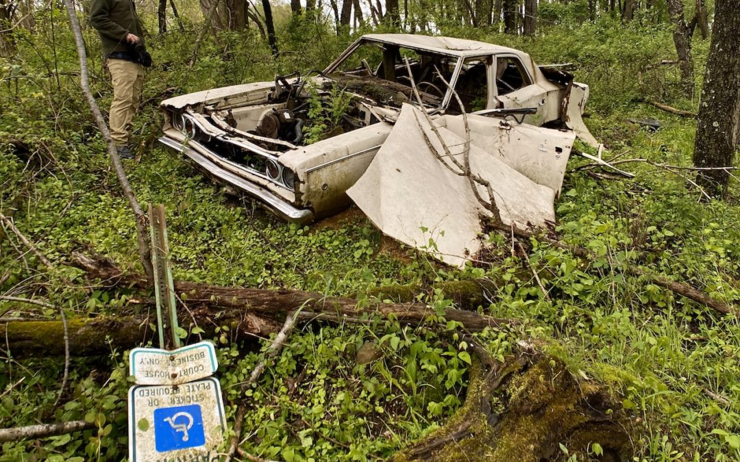 Abandoned Dodge Coronet with Bullet Holes in Ohio woods