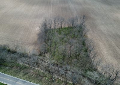 drone view of abandoned cemetery in piqua ohio