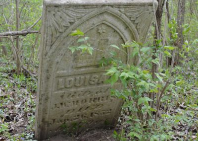 abandoned cemetery in the woods with louisa headstone