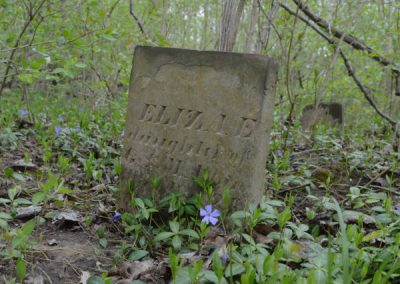 abandoned headstone for eliae in the woods