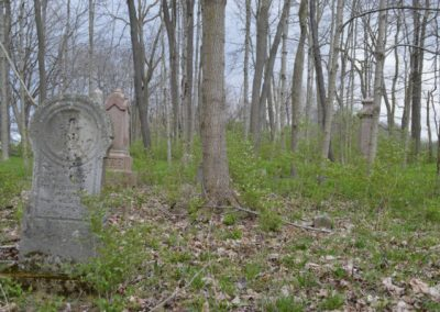 abandoned headstones in the wood of ohio