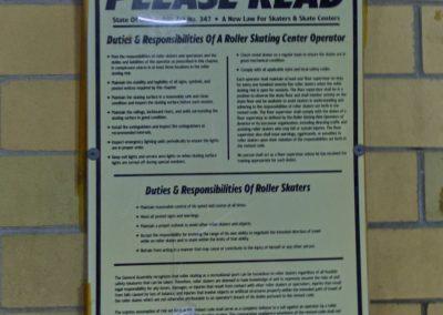 roller skate safety sign skateworld