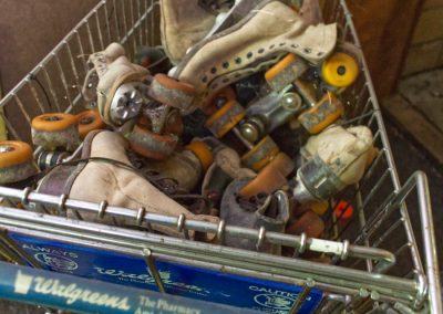 roller skates in a shopping cart