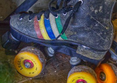 abandoned roller skate with legend wheels
