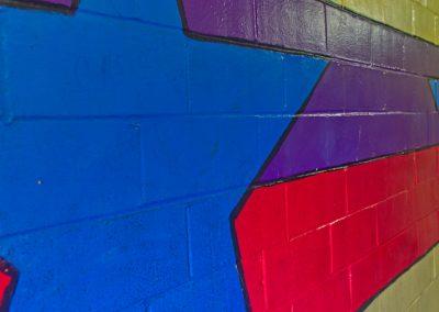 bright painted stars inside skateland