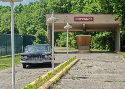 vintage car in front of skyborn entrance in fairborn