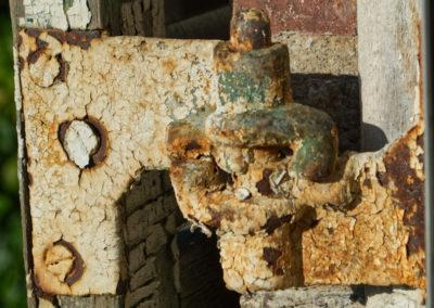 vintage shutter hinge rusted