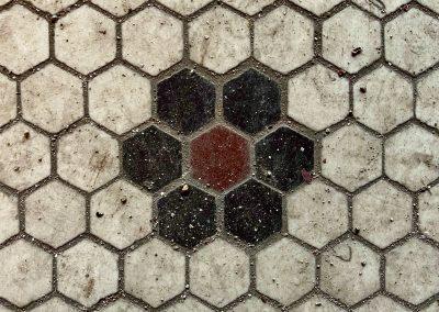 midget theater tile floor 1800s red black close