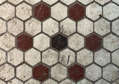 midget theater tile floor 1800s red black