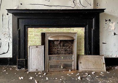 1800s victorian fireplace green tile insert black mantel