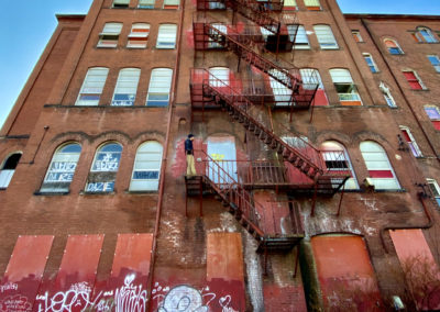 abandoned school red fire escape