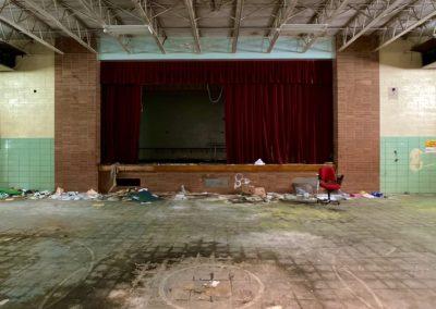 abandoned school auditorium
