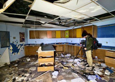 abandoned home economics classroom