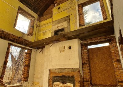 abandoned farmhouse bright yellow room