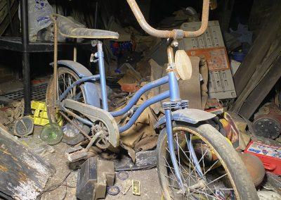 abandoned bike blue banana seat