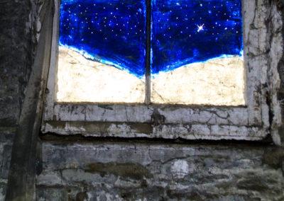 painted window night scene stars