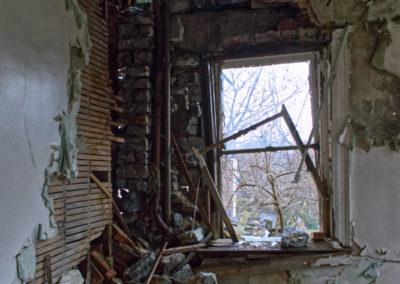 abandoned mansion stone wall