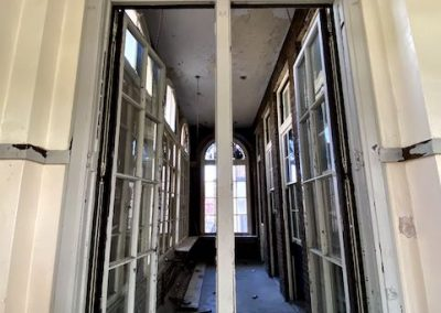 patio of abandoned school in ohio