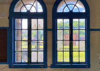 blue large curved windows