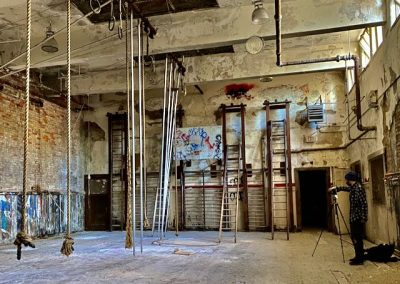 ropes course in abandoned school gym