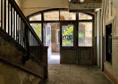 abandoned school lobby