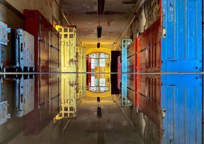 abandoned school flooded hallway refection