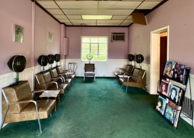 abandoned hair salon with dryer chairs in ohio