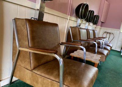 vintage dryer chairs in hair salon