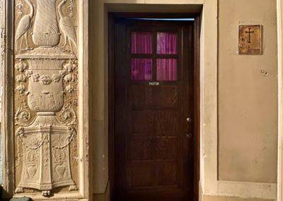 pastors office door