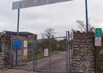 abandoned school football field