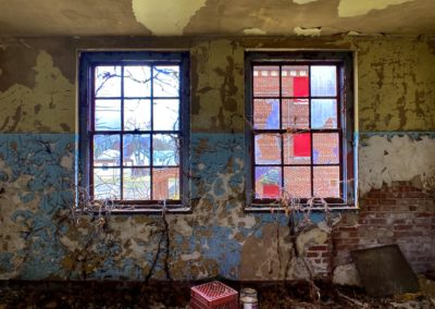 abandoned catholic school classroom windows