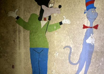 goofy and cat in the hat mural painting