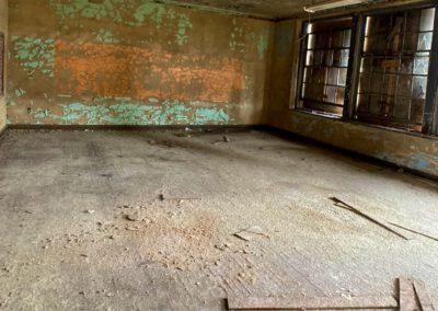 abandoned school classroom orange green wall