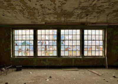 abandoned catholic school windows