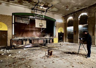 abandoned catholic school gymnasium
