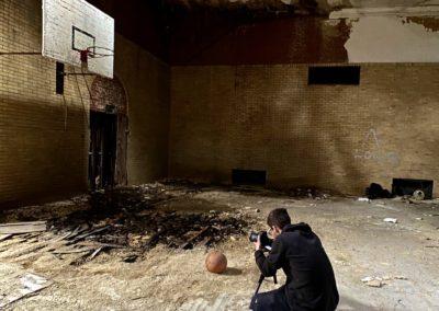 abandoned catholic school gym