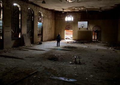 abandoned 1920s school gym